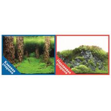 Фон двухсторонний с одной самоклеящейся стороной Затопленный лес/Камни с растениями 30x60см 9086+/90