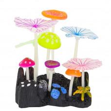 Флуоресцентная аквариумная декорация GLOXY 5 грибов и 4 листа лотоса (10х7, 5х11 см)